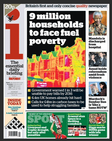 Energy Bill Revolution makes front page of the Independent and i newspaper